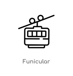 Outline funicular icon isolated black simple line vector