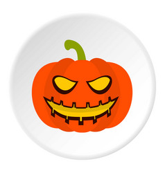 pumpkin lantern icon circle vector image