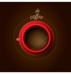 Red cup of coffee flat lay coffee mug vector