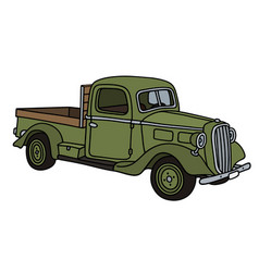 Retro green pick-up vector