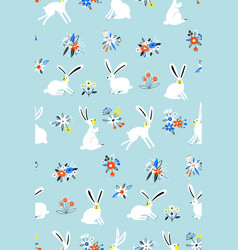 seamless pattern with cute white bunnies vector image