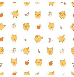Seamless pattern with small cartoon yellow pigs vector