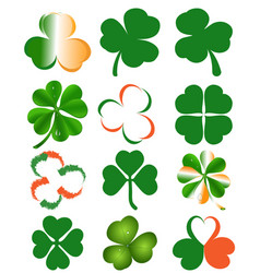 set of clover leaves - st patricks day symbol vector image