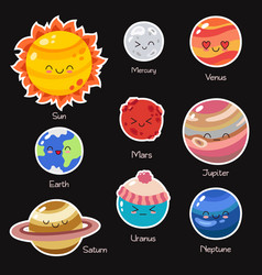 set of doodle cartoon icons planets of vector image