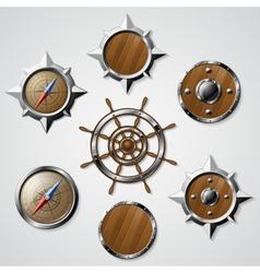 Set of nautical design elements vector