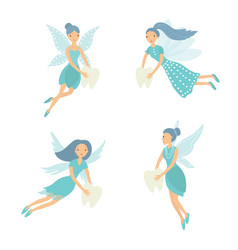 set tooth fairy isolated on vector image