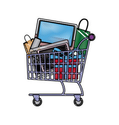 Shopping cart full with television cellphone bags vector