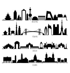 skyline silhouette beijing tokyo new delhi cuba vector image