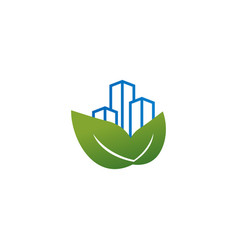 skyscraper building with leaf logo template vector image