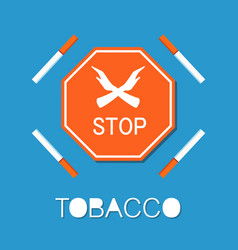 stop red sign two crossed hands smoking forbidden vector image