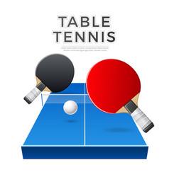 table tennis rockets ball ping pong vector image