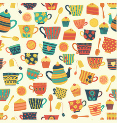 tea time seamless pattern background beige vector image