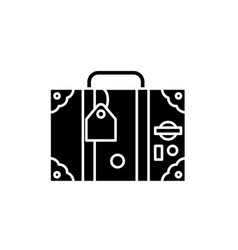 travel suitcase black icon sign on vector image