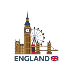 Travel to england london skyline big ban vector