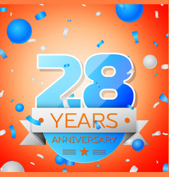 twenty eight years anniversary celebration vector image