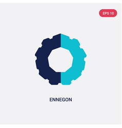 two color ennegon icon from geometry concept vector image