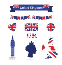 United Kingdom symbols UK flag icons set vector image