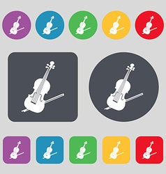 Violin icon sign A set of 12 colored buttons Flat vector image