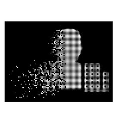 White disappearing pixelated halftone city vector