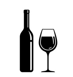 wine bottle and glass isolated icons vector image