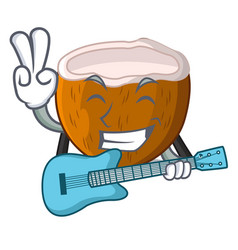 With guitar cartoon beverage coconuts on the beach vector