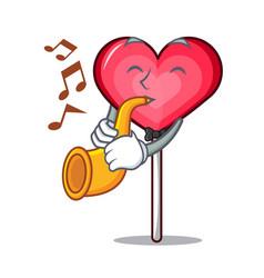 With trumpet heart lollipop mascot cartoon vector