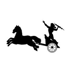 Zeus jupiter god chariot lightning silhouette vector