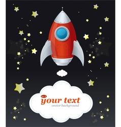 Comic cartoon rocket space ship and text vector image vector image
