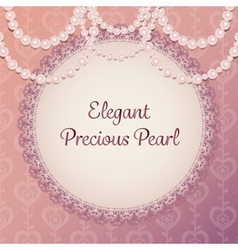 elegant pearl necklace curtain on purple brown vector image