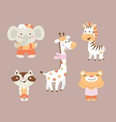 funny cartoon zoo with bear raccoon zebra giraffe vector image vector image