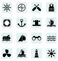 sailing icons set vector image vector image