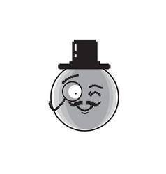 smiling cartoon face wear aristocrat hat positive vector image vector image