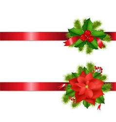 Winter Flower And Berry With Ribbons vector image