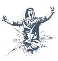 grunge gang design vector image vector image