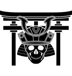skull of samurai and torii gate vector image