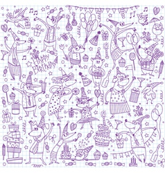 Birthday sketch set vector image vector image