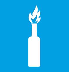 burning bottle icon white vector image