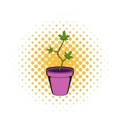 Cannabis plant in a pot icon comics style vector image vector image