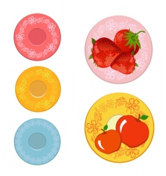 plates with fruits vector image vector image