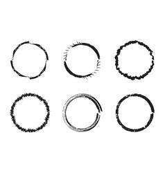 set of black grunge circles round frames vector image