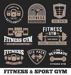 Set of fitness gym and sport club logo emblem vector