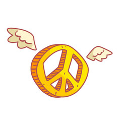 yellow peace sign with wings colorful cartoon vector image vector image