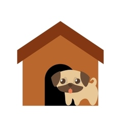 dog cute tongue out brown house vector image vector image