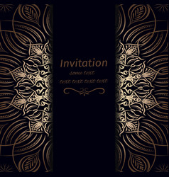invitation in dark blue with gold vector image