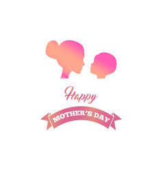 mother silhouette child mothers day card vector image