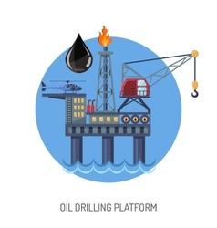 Oil drilling platform concept vector