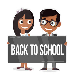 schoolboy and schoolgirl with a sign board back vector image