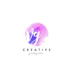 vg watercolor letter logo design with purple vector image vector image