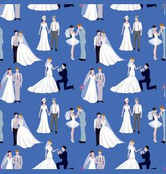 wedding ceremony groom and bride couple people vector image