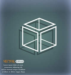 3d cube icon sign On the blue-green abstract vector image